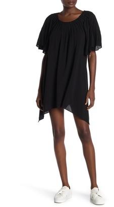 WEST KEI Pleated Asymmetrical Hem Tunic Dress