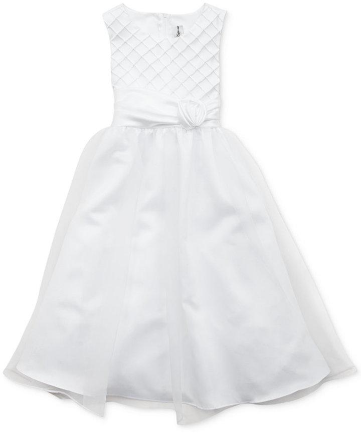 Rare Editions Girls Dress, Girls Communion Lattice Ballerina Dress