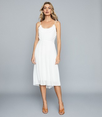 Reiss THORA PLEATED CHIFFON DRESS White