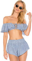 Blue Life Melanie Lace Up Top in Blue