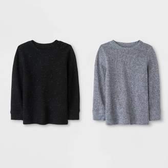 Cat & Jack Toddler Boys' Long Sleeve 2pk Thermal T-Shirts Heather Gray/Black