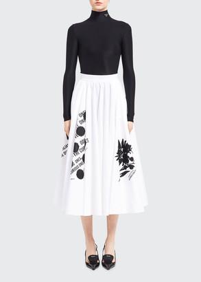 Flower-Print Pleated Midi Skirt