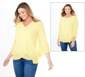 Laurie Felt Woven Reversible Pleated Sleeve Blouse