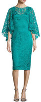 Theia Bell-Sleeve Floral Lace Cocktail Dress, Turquoise