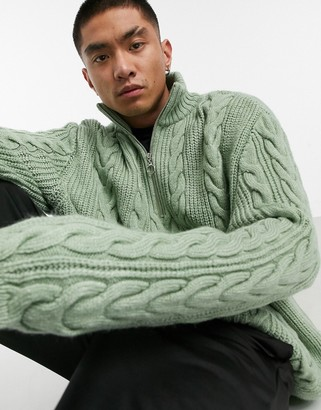 ASOS DESIGN chunky cable knit half zip jumper in khaki