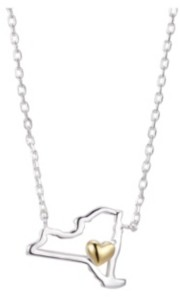 """Unwritten Gold Flash Plated New York State Pendant Necklace, 16""""+2"""" Extender"""
