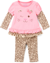 Buster Brown Sachet Pink & Cheetah Ruffle Tee & Leggings - Infant