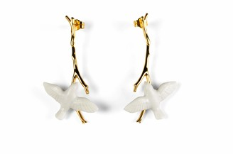 Lladro Magic Forest Long Earrings Type 613. Porcelain Jewelry.