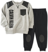 Calvin Klein 2-Pc. Faux-Leather-Detail Sweatshirt & Jogger Pants Set, Baby Boys (0-24 months)