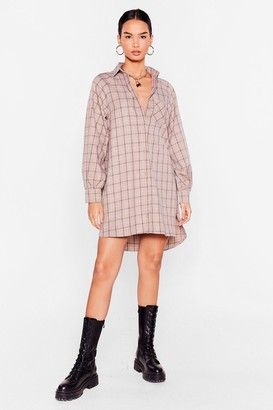 Nasty Gal Womens It Doesn't Shirt to Try Check Mini Dress - Chocolate