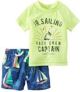 "Carter's Baby Boy Short Sleeve ""Jr. Sailing Race Crew Captain"" Rashguard & Sailboat Swim Trunks Set"