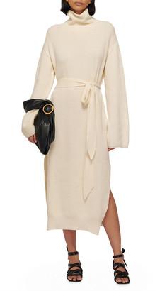 Nanushka Canaan Rib-Knit Side-Slit Belted Midi Dress