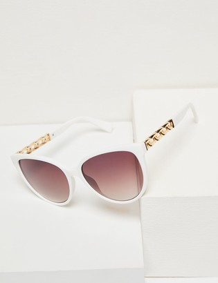 Lane Bryant Embellished Cateye Sunglasses - White