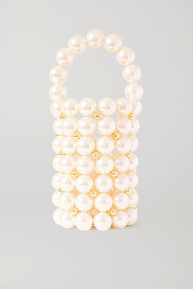 VANINA Le Comino Faux Pearl And Gold-tone Beaded Tote - White