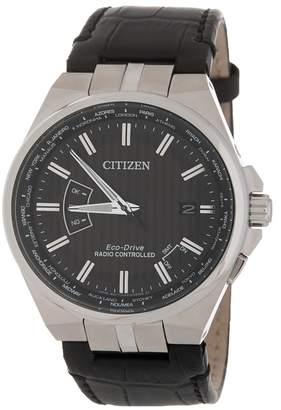 Citizen Men's World Time A-T Perpetual Embossed Leather Watch, 42mm