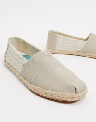 Toms espadrilles in gray stripe linen with rope detail