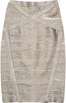 Herve Leger Arlis metallic coated bandage skirt