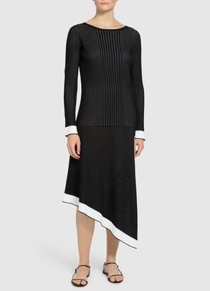 St. John Plisse Jacquard Knit Sweater