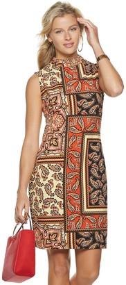 Sharagano Women's Paisley Mockneck Dress