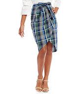 Gianni Bini Blair Tie Front Plaid Skirt