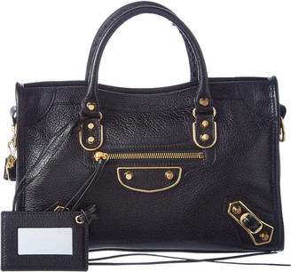 Balenciaga Classic Gold Metallic Edge City Small Leather Shoulder Bag