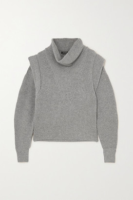 Isabel Marant Poppy Ribbed Cashmere And Wool-blend Turtleneck Sweater - Gray