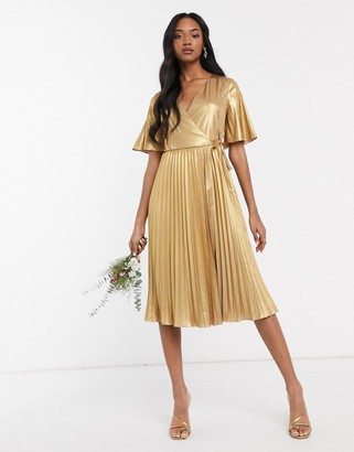 TFNC wrap front pleated midi dress in gold