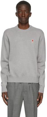Ami Alexandre Mattiussi Grey Wool Ami De Coeur Crewneck Sweater