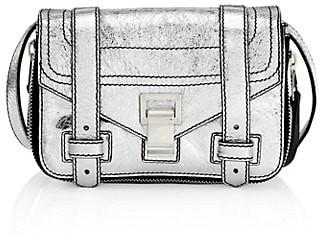 Proenza Schouler Mini PS1+ Zip-Around Metallic Leather Crossbody Bag
