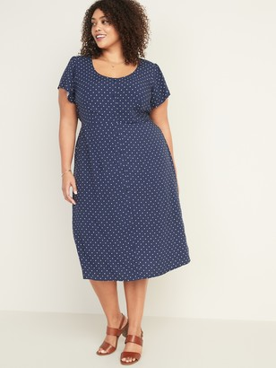 Old Navy Fit & Flare Printed Button-Front Plus-Size Midi Dress