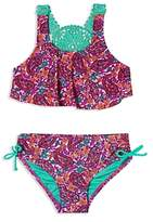 Hula Star Girls' Paisley Dream 2-Piece Crochet Swimsuit - Little Kid