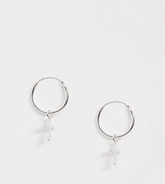 Kingsley Ryan sterling silver hoop earrings with cross drop