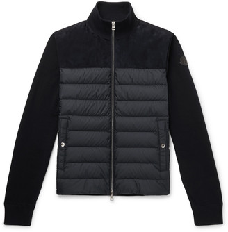 Moncler Suede-Panelled Quilted Shell and Cotton-Jersey Down Jacket - Men - Blue