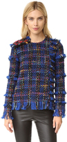 MSGM Tweed Fringe Sweatshirt