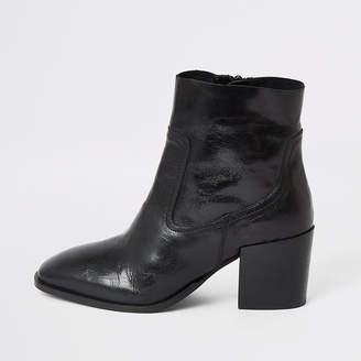 River Island Black leather heeled ankle boots