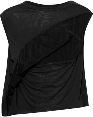 Rick Owens Lilies Mesh-paneled Draped Jersey Top