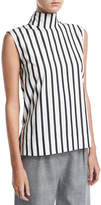 SOLACE London Odila Mock-Neck Sleeveless Striped Cotton Top