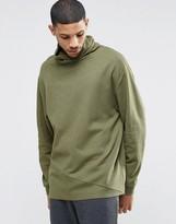 Asos Sweatshirt With Funnel Neck In Khaki Slub