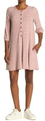 MelloDay Knit Rib 3/4 Sleeve Button Front Dress