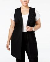 Nine West Plus Size Open-Front Long Vest
