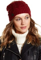 Vince Camuto Cable Knit Genuine Rabbit Fur Pompom Beanie