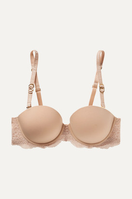Stella McCartney Stretch-jersey And Lace Underwired Balconette Bra - Sand