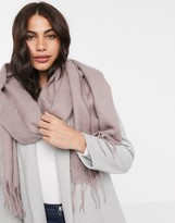 Asos Design DESIGN supersoft long woven scarf with tassels in mauve