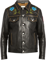 Gucci Hand-painted studded leather jacket