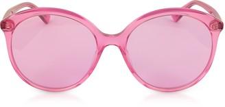 Gucci GG0257S Specialized Fit Round-frame Transparent Fuchsia Acetate Sunglasses