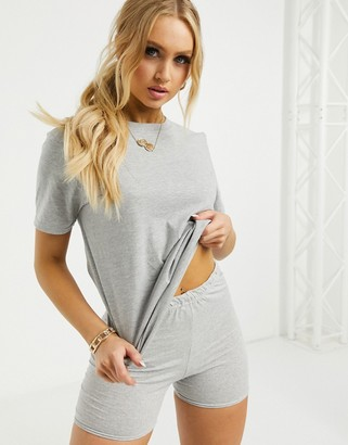 Femme Luxe T-shirt and bodycon shorts set in grey