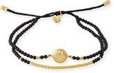 Tai Smiley Emoji Beaded Bracelet, Black