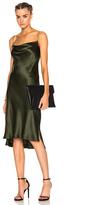 Protagonist Draped Bias Slip Dress in Green.