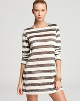 La Blanca Boatneck Striped Tunic Swimsuit Cover Up
