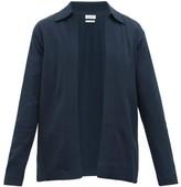 Deveaux - Collared Textured Jersey Cardigan - Mens - Navy